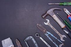 Комплект инструмента на черной предпосылке Стоковое фото RF