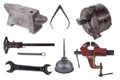 Комплект инструментов изолированный над белой предпосылкой стоковое фото