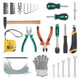 Комплект инструментов конструкции изолированных на белой предпосылке Рулетка, ключ, гаечный ключ, молоток, резец, плоскогубцы пер Стоковые Изображения RF