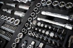 Комплект инструментов ключа ванадия хрома на черном ящике Стоковая Фотография