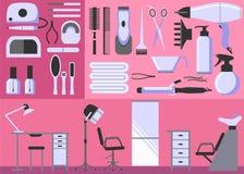 Комплект инструментов парикмахерских услуг и маникюра Стоковые Фото