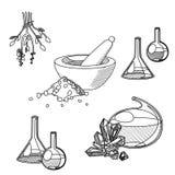 Комплект инструментов химика Иллюстрация штока
