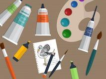 Комплект инструментов чертежа и картины на таблице вектор Стоковое фото RF