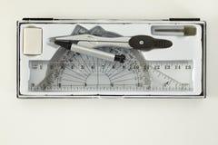 Комплект инструментов школы математики Стоковая Фотография