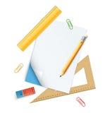 Комплект инструментов для образования, карандаша, правителей и резины Стоковое Изображение