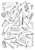 Комплект инструментов для работы плотничества Стоковые Фото