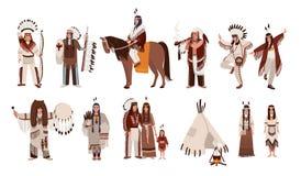 Комплект индейцев в традиционных костюмах Семья коренного американца, девушка, шаман, люди с луком и стрелы, мир-труба бесплатная иллюстрация