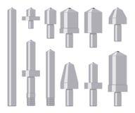 Комплект индентеров диаманта изолированных на белизне Стоковое Изображение