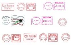 Комплект итальянских postmarks Стоковое Фото