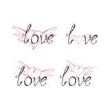 Комплект литерности влюбленности с wingy сердцем Стоковые Фотографии RF