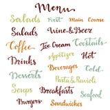 Комплект литерности меню Десерты, стартеры, пить, завтраки, коктеили и другое собрание слов каллиграфия вектора бесплатная иллюстрация