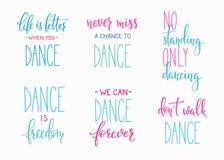Комплект литерности цитаты студии танца Стоковое Изображение