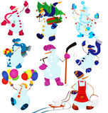 Комплект и воздушные шары снеговика шаржа Стоковое Изображение RF