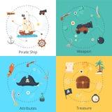 Комплект идеи проекта пирата Стоковые Изображения RF