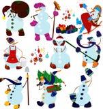 Комплект и настоящие моменты снеговика шаржа Стоковое Изображение