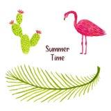 Комплект иллюстрации акварели тропических лист, птицы фламинго и кактуса Смогите быть использовано для печатей и украшения дизайн Стоковое Фото