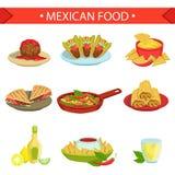 Комплект иллюстрации блюд мексиканской еды известный иллюстрация штока