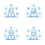 Комплект иллюстрации вектора голубого плоского стиля линейных и плана Конструктивная схема графического дизайна - команда студии  Стоковая Фотография