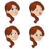 Комплект иллюстрации вектора милой маленькой девочки смотрит на показывать различные эмоции Стоковое Изображение
