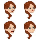 Комплект иллюстрации вектора милой маленькой девочки смотрит на показывать различные эмоции Стоковые Изображения RF
