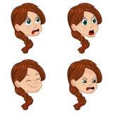 Комплект иллюстрации вектора милой маленькой девочки смотрит на показывать различные эмоции Стоковая Фотография RF
