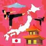 Комплект иллюстрации вектора логотипа символов Japaneese Силуэт элементов Infographic изолированный на розовой предпосылке Стоковое Фото