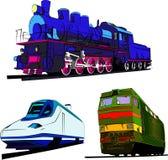 Комплект иллюстрации вектора поездов Поезд пара, скорость срочная и локомотивная Стоковая Фотография RF