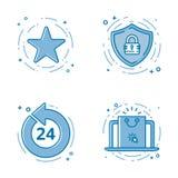 Комплект иллюстрации вектора плоской смелейшей линии значков с звездой - любимым знаком, экраном - безопасность сети, 24 7 Стоковая Фотография RF