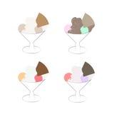 Комплект иллюстрации вектора sundae мороженого изолированный на белой предпосылке Стоковая Фотография RF