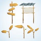 Комплект иллюстрации деревянных стрелок Стоковое Изображение