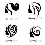 Комплект иллюстрации женщины с красивыми волосами Стоковое Изображение RF