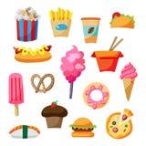 Комплект иллюстрации значка еды улицы шаржа Стоковые Изображения