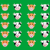 Комплект иллюстрации значка эмоции стороны коровы знака emoji Иллюстрация вектора