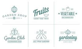 Комплект иллюстрации значков сада вектора и элементов и плодоовощей или овощей фермы можно использовать как логотип Стоковое Изображение