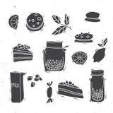 комплект иллюстрации иконы элемента десерта конструкции Стоковое Изображение