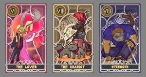 Комплект иллюстрации карточки Tarot иллюстрация вектора