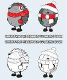 Комплект иллюстрации книжка-раскраски 2 ежей рождества Стоковое Фото