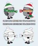 Комплект иллюстрации книжка-раскраски 2 ежей рождества Стоковое фото RF