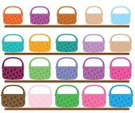 Комплект иллюстрации корзин другого цвета и размера Стоковое Изображение