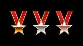 Комплект иллюстрации медалей звезды Золотая медаль Серебряная медаль Бронзовая медаль Стоковое фото RF