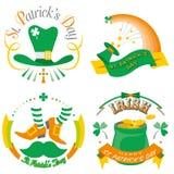 Комплект иллюстрации оформления дня ` s St. Patrick иллюстрация штока