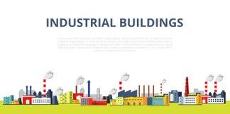 Комплект иллюстрации промышленных зданий Шаблон вектора для вашего дизайна Стоковые Изображения