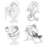 Комплект иллюстрации плоских рыб шаржа черно-белый Стоковое Фото