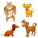 комплект иллюстрации собак конструкции шаржа предпосылки иллюстрация вектора