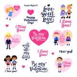 Комплект иллюстрации с мальчиками и девушками, сердцами, надписями поздравлений Стоковое Изображение RF