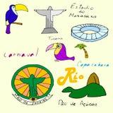 Комплект иллюстрации цвета вектора различной стилизованной Рио-де-Жанейро Стоковые Фотографии RF