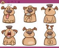Комплект иллюстрации шаржа эмоций собаки Стоковые Изображения