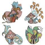 Комплект иллюстраций вектора грибков и заводов Стоковое Изображение