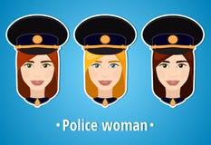 Комплект иллюстраций вектора полиции девушки Полиция женщины девушка s стороны икона Плоский значок minimalism девушка стилизован Стоковые Изображения RF