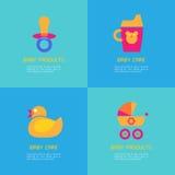 Комплект иллюстраций вектора резиновой утки, soother, sippy чашки, экипажа иллюстрация штока